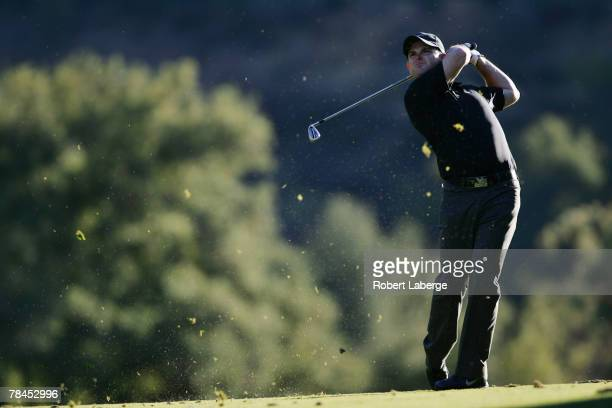 Rory Sabbatini of South Africa makes an approach shot on the 18th hole during round one of the Target World Challenge at the Sherwood Country Club...