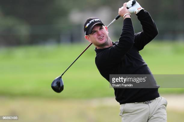 Rory Sabbatini of South Africa plays a shot during round one of the ATT Pebble Beach National ProAm at Monterey Peninsula Country Club Shore Course...