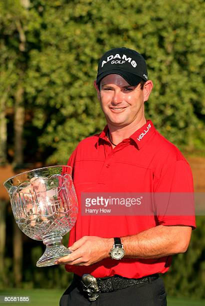 Rory Sabbatini of South Africa poses with the trophy after winning the Par 3 Contest prior to the start of the 2008 Masters Tournament at Augusta...