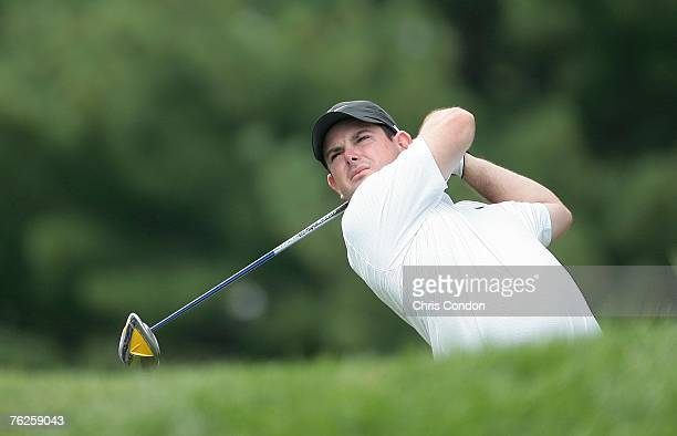 Rory Sabbatini of South Africa tees off on during the first round of The Barclays held at Westchester Country Club on August 23 2007 in Harrison New...
