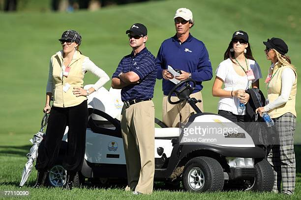 Rory Sabbatini of the European Team with his Assistant Captain Ian BakerFinch and wives on the 11th hole during the 3rd day afternoon fourball...