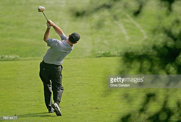 Rory Sabbatini tees off on during the second round of The Barclays held at Westchester Country Club in Harrison NY on August 24 2007