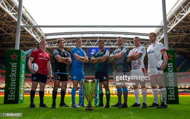 Rory Scannell of Munster Rugby, Callum Gibbins of Glasgow Warriors, Johnny Sexton of Leinster Rugby, Jarrad Butler of Connacht Rugby, Dan Lydiate of...