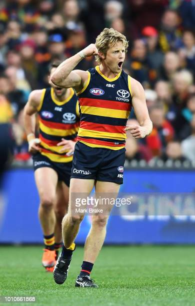 Rory Sloane of the Adelaide Crows celebrates a goal during the round 20 AFL match between the Adelaide Crows and the Port Adelaide Power at Adelaide...