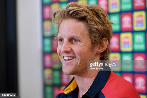 Rory Sloane of the Adelaide Crows speaks to the media ahead of the AFL Grand Final at AAMI Park on September 26 2017 in Adelaide Australia
