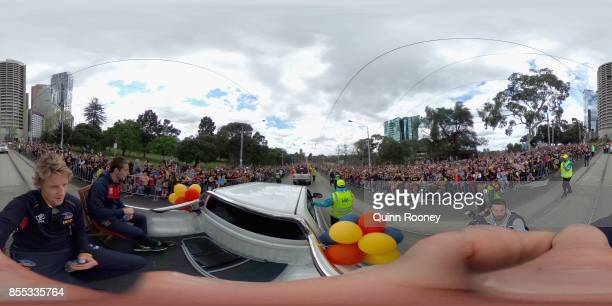 Rory Sloane of the Crows acknowledges the crowd during the 2017 AFL Grand Final Parade ahead of the Grand Final between the Adelaide Crows and the...