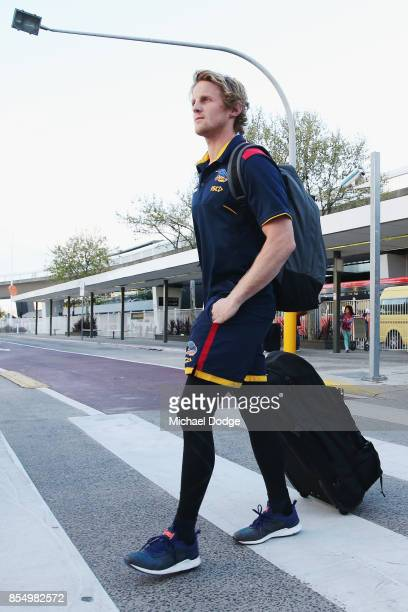 Rory Sloane of the Crows arrives at Melbourne Airport on September 28 2017 in Melbourne Australia Adelaide will play against Richmond in Saturday's...