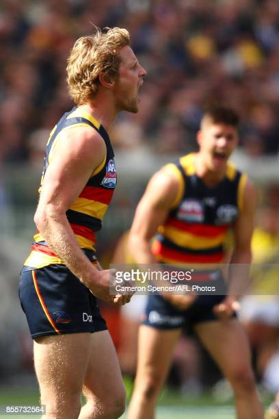 Rory Sloane of the Crows celebrates kicking a goal during the 2017 AFL Grand Final match between the Adelaide Crows and the Richmond Tigers at...