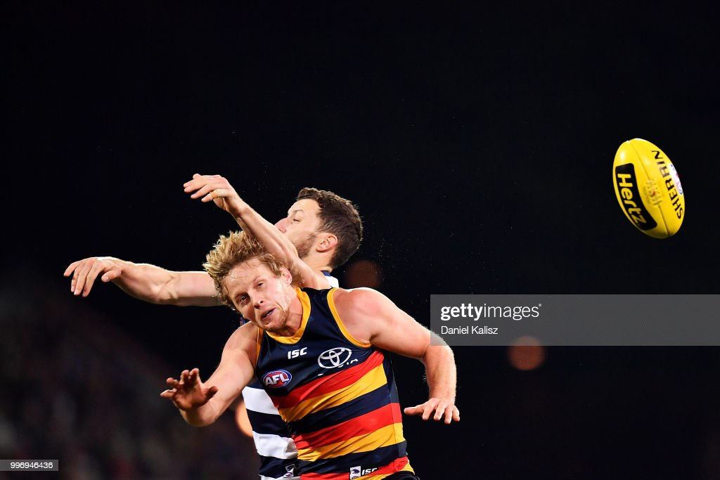 Rory Sloane of the Crows competes for the ball during the round 17 AFL match between the Adelaide Crows and the Geelong Cats at Adelaide Oval on July 12, 2018 in Adelaide, Australia.
