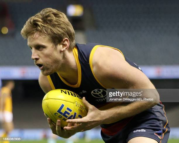 Rory Sloane of the Crows in action during the round 20 AFL match between Adelaide Crows and Hawthorn Hawks at Marvel Stadium on July 24, 2021 in...