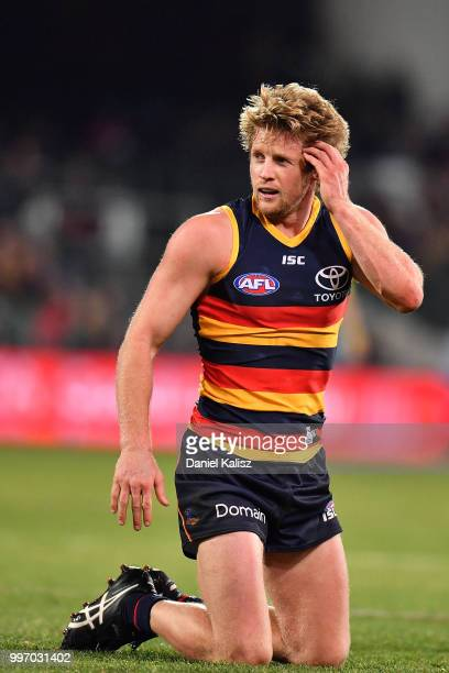 Rory Sloane of the Crows is pictured during the round 17 AFL match between the Adelaide Crows and the Geelong Cats at Adelaide Oval on July 12 2018...
