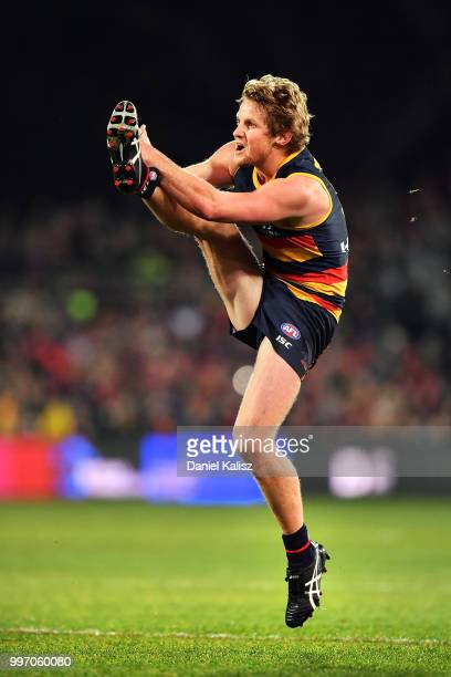 Rory Sloane of the Crows kicks the ball during the round 17 AFL match between the Adelaide Crows and the Geelong Cats at Adelaide Oval on July 12...