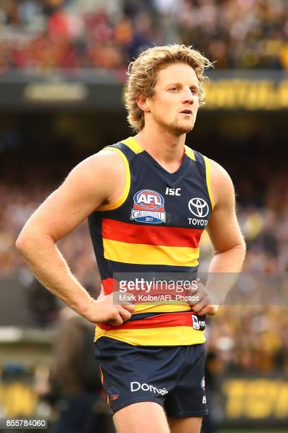 Rory Sloane of the Crows looks dejected after defeat during the 2017 AFL Grand Final match between the Adelaide Crows and the Richmond Tigers at...
