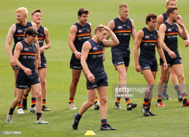 Rory Sloane of the Crows looks on during an Adelaide Crows AFL training session at Adelaide Oval on August 05, 2021 in Adelaide, Australia.
