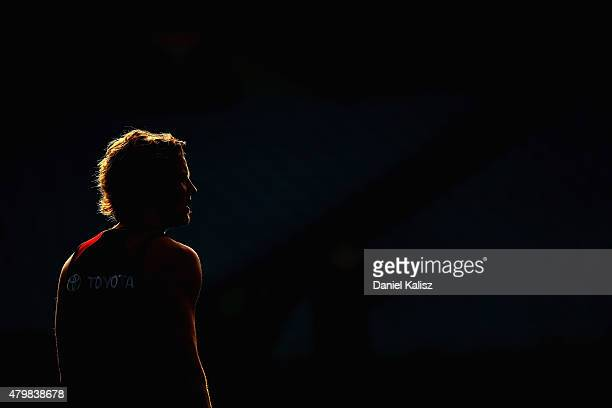 Rory Sloane of the Crows looks on during an Adelaide Crows AFL training session at AAMI Stadium on July 8 2015 in Adelaide Australia