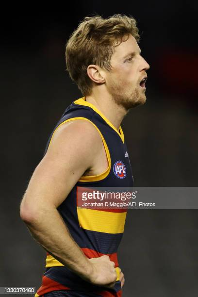 Rory Sloane of the Crows looks on during the round 20 AFL match between Adelaide Crows and Hawthorn Hawks at Marvel Stadium on July 24, 2021 in...