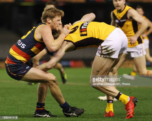 Rory Sloane of the Crows makes a tackle during the round 20 AFL match between Adelaide Crows and Hawthorn Hawks at Marvel Stadium on July 24, 2021 in...
