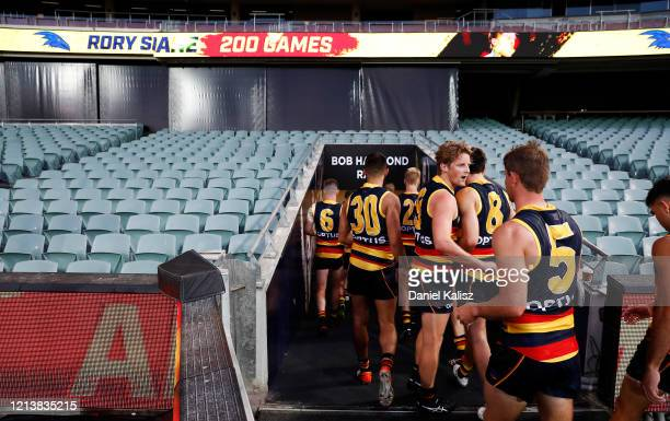 Rory Sloane of the Crows walks from the field during the round 1 AFL match between the Adelaide Crows and the Sydney Swans at Adelaide Oval on March...