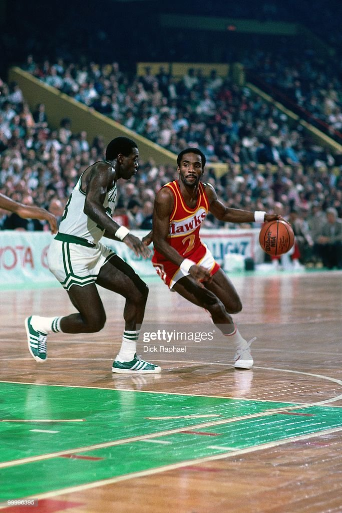 Rory Sparrow #2 of the Atlanta Hawks drives to the basket against the Boston Celtics during a game played in 1983 at the Boston Garden in Boston, Massachusetts.