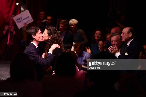 Rory Stewart OBE MP, Secretary of State for International Development kisses his wife Shoshana Stewart, as Kenneth Clarke MP and Sir Nicholas Soames...