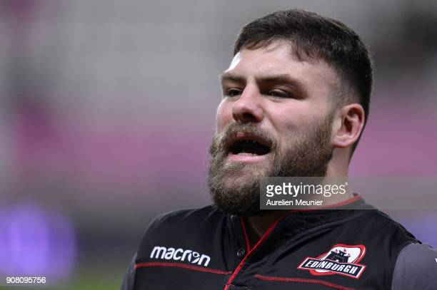 Rory Sutherland of Edinburgh reacts during warmup before the European Rugby Challenge Cup match between Stade Francais and Edinburgh at Stade...