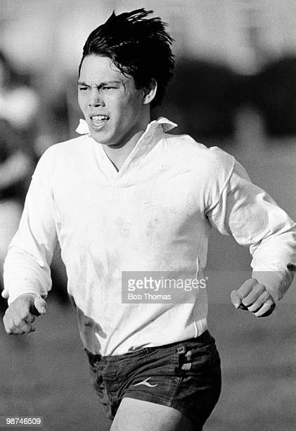 Rory Underwood Leicester England rugby union during a training session held at St Paul's School London on 12th January 1986