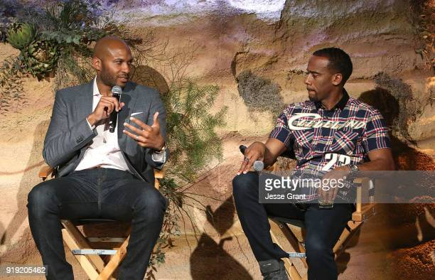 Rory Wilfork and Jeff Johnson attend BET Network's 'Mancave' Event at Goya Studios on February 16 2018 in Los Angeles California