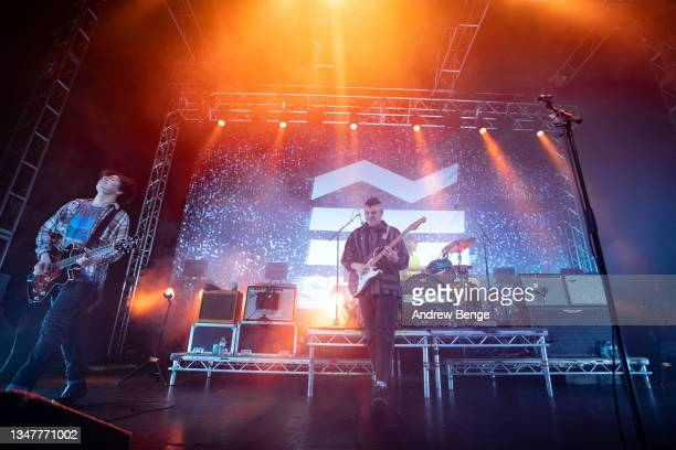 Rory Young and Henry Camamile of Sea Girls perform at O2 Academy Leeds on October 20, 2021 in Leeds, England.