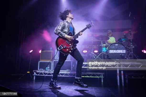 Rory Young of Sea Girls performs at O2 Academy Leeds on October 20, 2021 in Leeds, England.