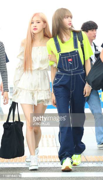 Rosé and Lisa of BLACKPINK are seen upon departure at Incheon International Airport on June 06 2019 in Incheon South Korea