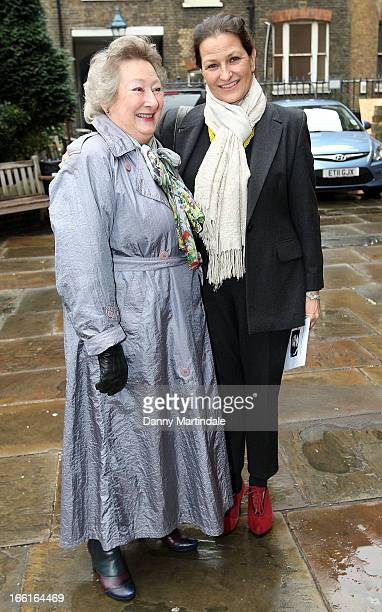 Ros Holness and Mary Holness daughter and widow of Bob Holness attend a memorial for Dinah Sheridan an actress who starred in 'The Railway Children'...
