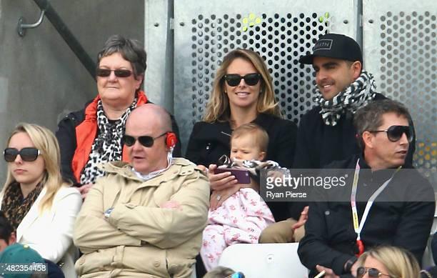 Ros Marsh , wife of Australian Chairman of Selectors Rod Marsh, Candice Warner , wife of David Warner of Australia, their daughter Ivy Warner , and...