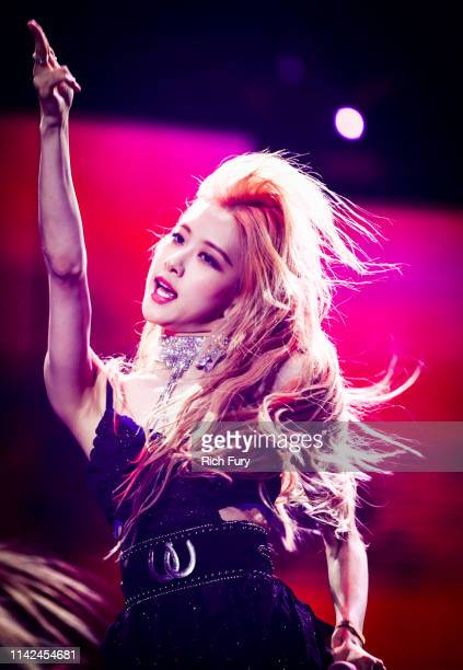 Rosé of BLACKPINK performs at Sahara Tent during the 2019 Coachella Valley Music And Arts Festival on April 12 2019 in Indio California