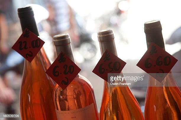 Rosé wines for sale in a Paris wine shop