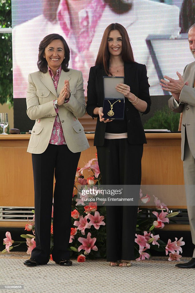 Rosa Aguilar and Paz Vega attend the Seville Golden Medal Ceremony at Seville Province Day on May 23, 2010 in Seville, Spain.