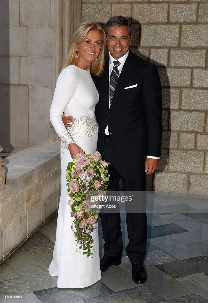 Rosa Clara and Josep Artigas leave Barcelona City Hall after their wedding on June 15, 2013 in Barcelona, Spain.