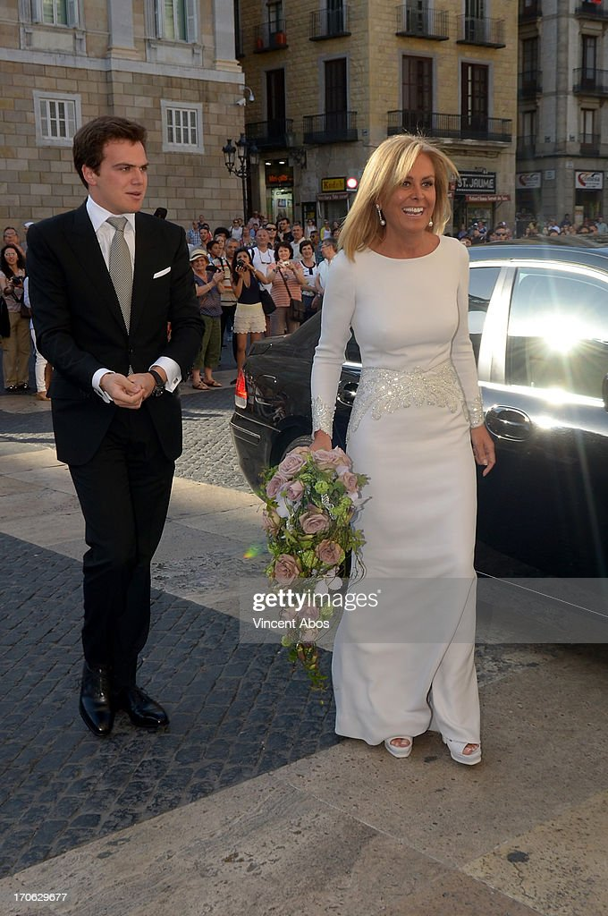 Rosa Clara and son Dani Clara arrive to Barcelona City Hall for her wedding to Josep Artigas on June 15, 2013 in Barcelona, Spain.