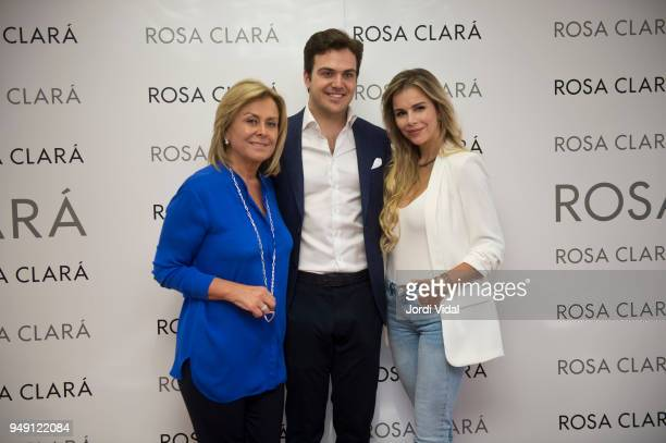 Rosa Clara Daniel Clara and Agueda Lopez attend the press during the Rosa Clara opening showroom on April 20 2018 in Sant Just Desvern Spain