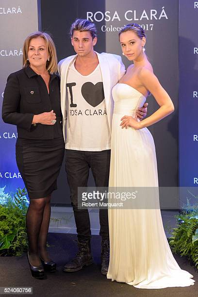 Rosa Clara Jay Alvarrez and Alexis Ren pose during a photocall for 'Rosa Clara' Barcelona Bridal week fitting on April 25 2016 in Barcelona Spain