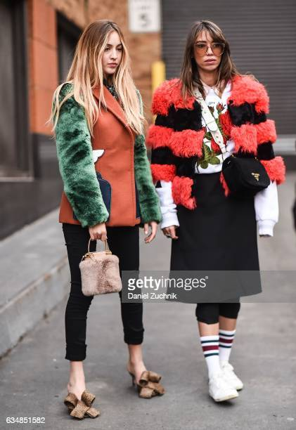 Rosa Crespo and Thania Peck are seen at the Dion Lee show during New York Fashion Week Women's Fall/Winter 2017 on February 11 2017 in New York City