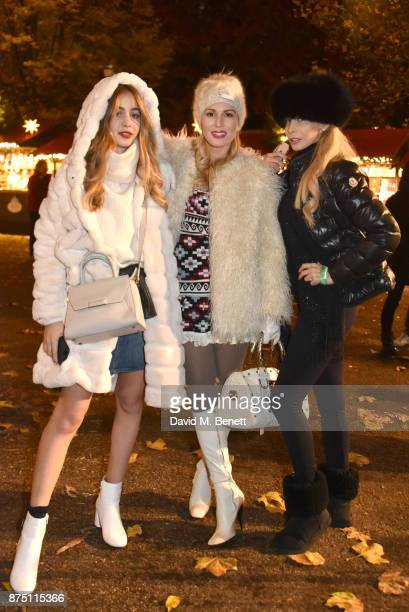 Rosa Crespo Hofit Golan and Mimi Eid attend the VIP launch of Hyde Park Winter Wonderland 2017 on November 16 2017 in London England