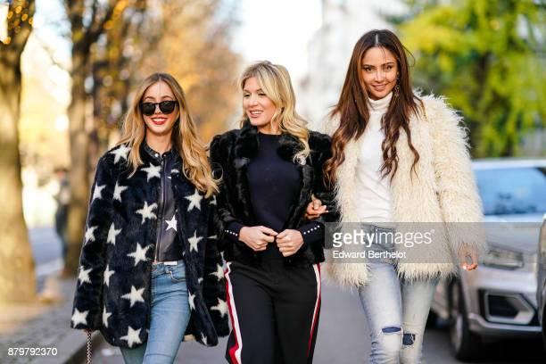 Rosa Crespo Hofit Golan and Patricia Contreras seen in the street of Paris on November 19 2017 in Paris France