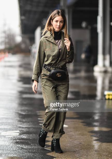 Rosa Crespo is seen outside the Tibi show during New York Fashion Week Women's A/W 2018 on February 11 2018 in New York City