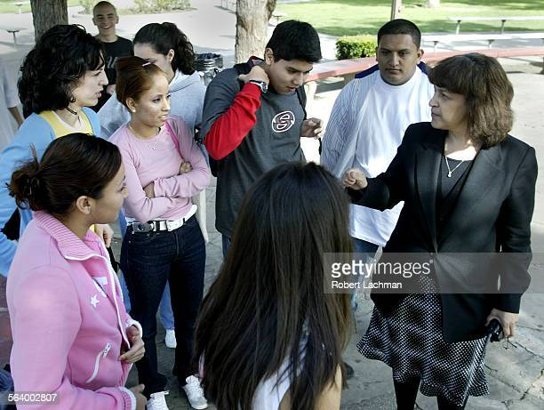 Rosa Diaz–Denny principal of John C Fremont High School talks with students on the Los Angeles campus Changes have been made at the school in...