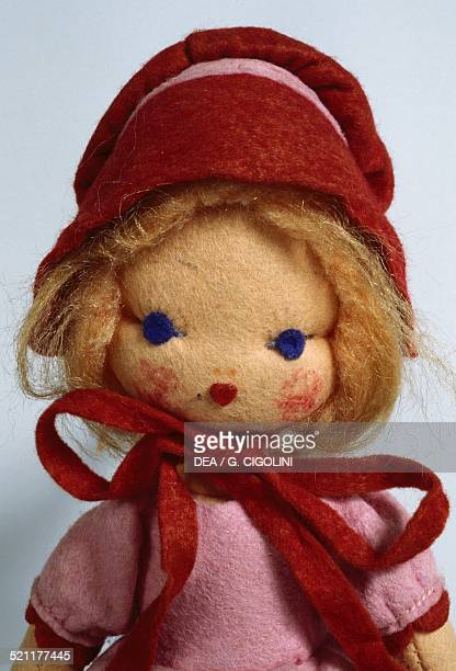 Rosa felt doll with red bow and hat made by Lenci height 27 cm Italy 20th century Detail Italy