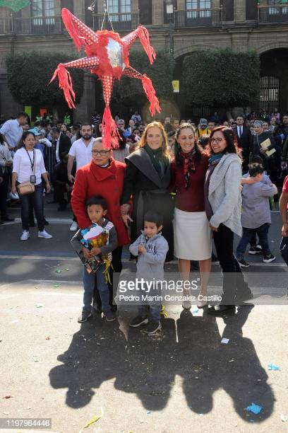 Rosa Isela Beatriz Gutiérrez Müller and Claudia Sheinbaum pose during the Three Kings Day celebrations in the Zocalo on January 6 2020 at the Mexico...