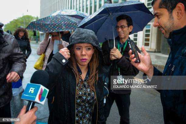 Rosa Isela Guzman Ortiz who claims to be one of the daughters of ÔEl ChapoÕ speaks with reporters outside the US Federal Courthouse in Brooklyn after...
