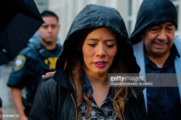 Rosa Isela Guzman Ortiz who claims to be one of the daughters of ÔEl ChapoÕ exits the US Federal Courthouse in Brooklyn after a hearing in the case...