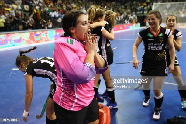 Rosa Kruger of Germany celebrate after the Women Gold Medal Indoor Hockey World Cup Berlin Final Day match between Germany and Netherlands on...