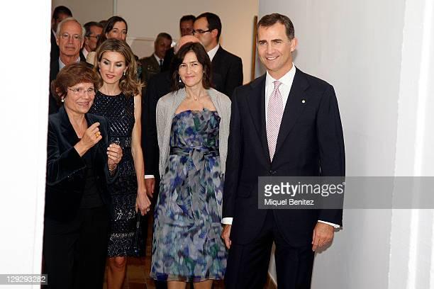 Rosa Maria Mallet Letizia Ortiz Angeles Gonzalez Sinde and Spanish Crown Prince Felipe de Borbon attend the 'Joan Miro La Escalera de la Evasion'...